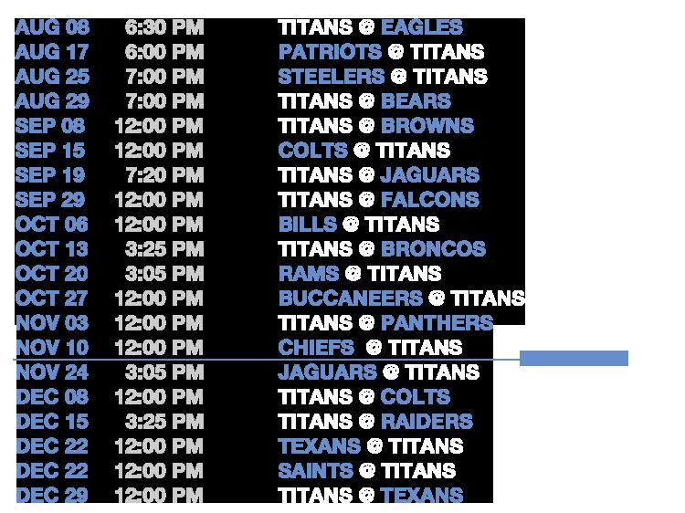 Lukes Titan Schedule